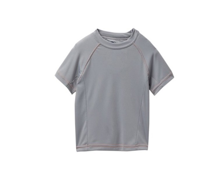 Solid Swim Tee with Contrast Stitching Little Boys, Grey/Orange