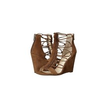 Jessica Simpson Beccy Women's Open Toe Fringe Wedge Sandals, Canela Brown