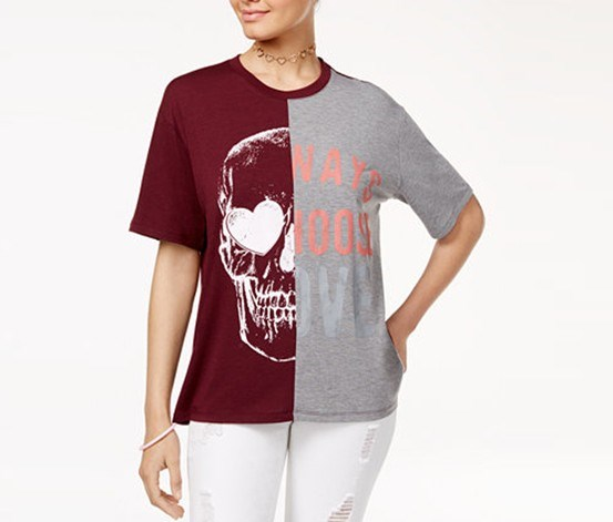 Juniors' Skull Choose Love Graphic T-Shirt, Burgundy/Grey