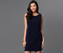 Jessica Simpson Sleeveless Dress with Front Drape, Navy