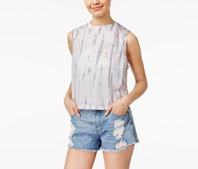 Juniors Disney The Little Mermaid Tie Dye Top, Grey/White