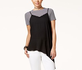 Shift Juniors Layered-Look Asymmetrical Top, Black