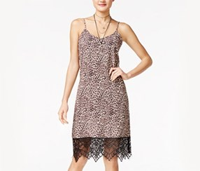 Shift Juniors Printed Lace-Trim Slip Dress, Leopard Print/Black