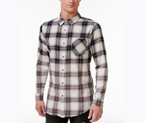 Jaywalker Men's Ombre Plaid Shirt, Black/White