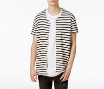 Jaywalker Men's Stripe French Terry Baseball Shirt, Black/White