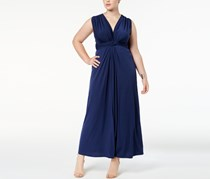 Love Squared Plus Size Sleeveless Knotted Maxi Dress, Navy