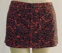 Black Coral Lace Print Club Party Mini Skirt Misse
