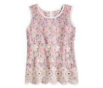 Monteau Girls Floral Print Embroidered, Pink