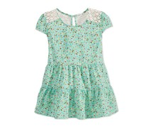 Monteau Girls Floral-print Tiered Top,Mint