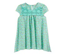 Monteau Girls Floral print Handkerchief Hem Top, Mint