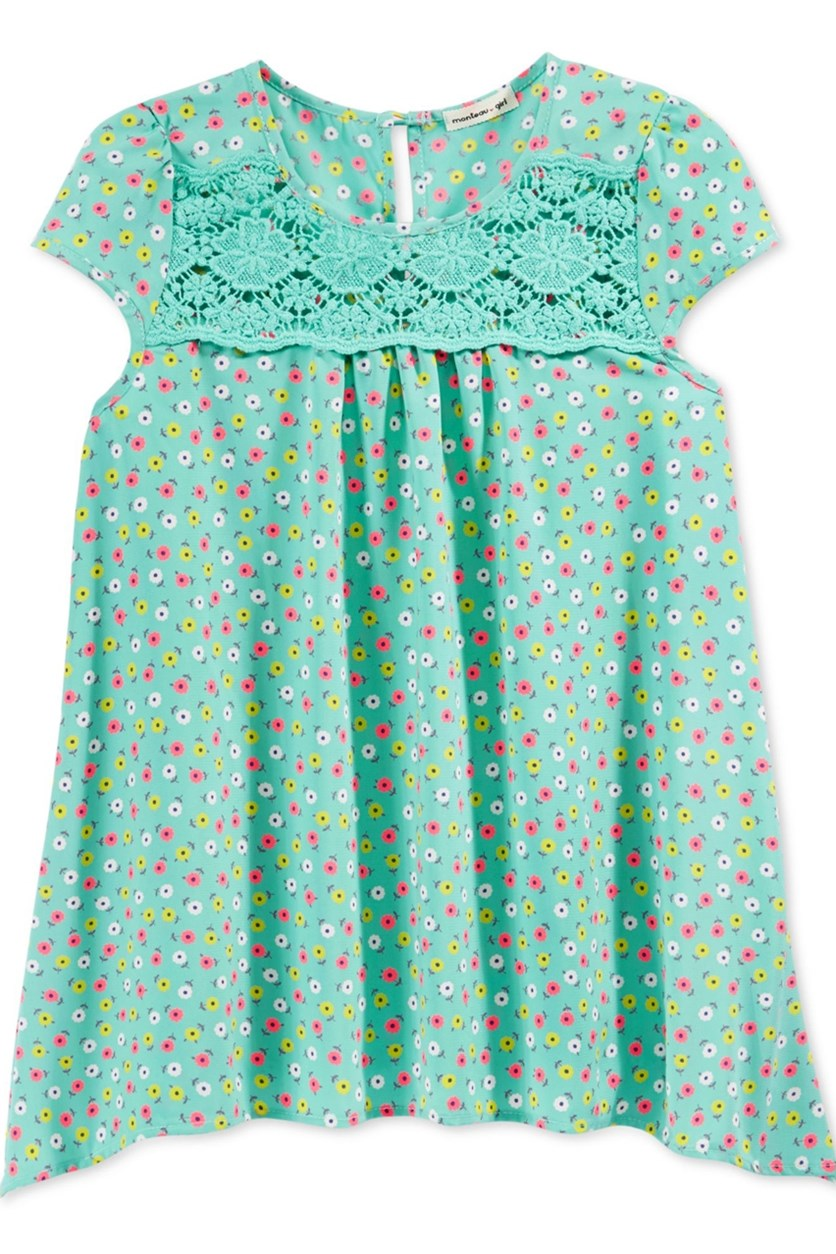 Girls Floral print Handkerchief Hem Top, Mint