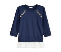Monteau Girls Embellished Layered-Look, Navy
