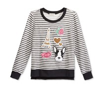Monteau Girls' Patches Striped Sweat Top, Black