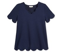 Monteau Scalloped Waffle Top, Navy