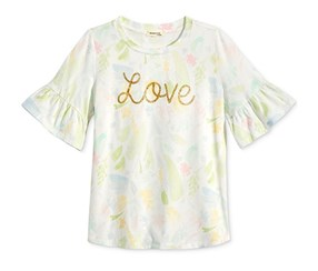 Monteau Bell-Sleeve Graphic Top, White/Pink/Green