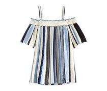 Kids Girls Off-The-Shoulder Stripe Shirt, Blue Stripe