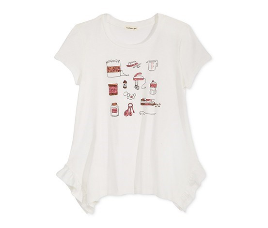 Glitter-Graphic Asymmetrical Cotton T-Shirt, Ivory
