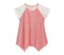 Monteau Girls Crochet-Sleeve Blouse, Coral
