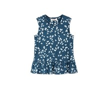 Kandy Kiss Butterfly Print Peplum Top, Poseidon Blue