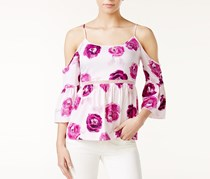 Kensie Floral-Print Cold-Shoulder Top, Bright Purple
