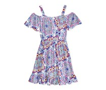 Kandy Kiss Paisley Cold-Shoulder Dress, Blue/Pink Combo