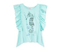 Kandy Kiss Ruffle-Sleeve T-Shirt, Aqua