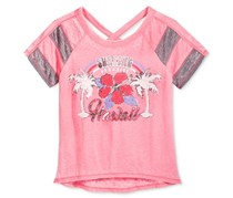 Kandy Kiss Striped-Sleeve Hawaii Graphic T-Shirt, Strawberry Pink