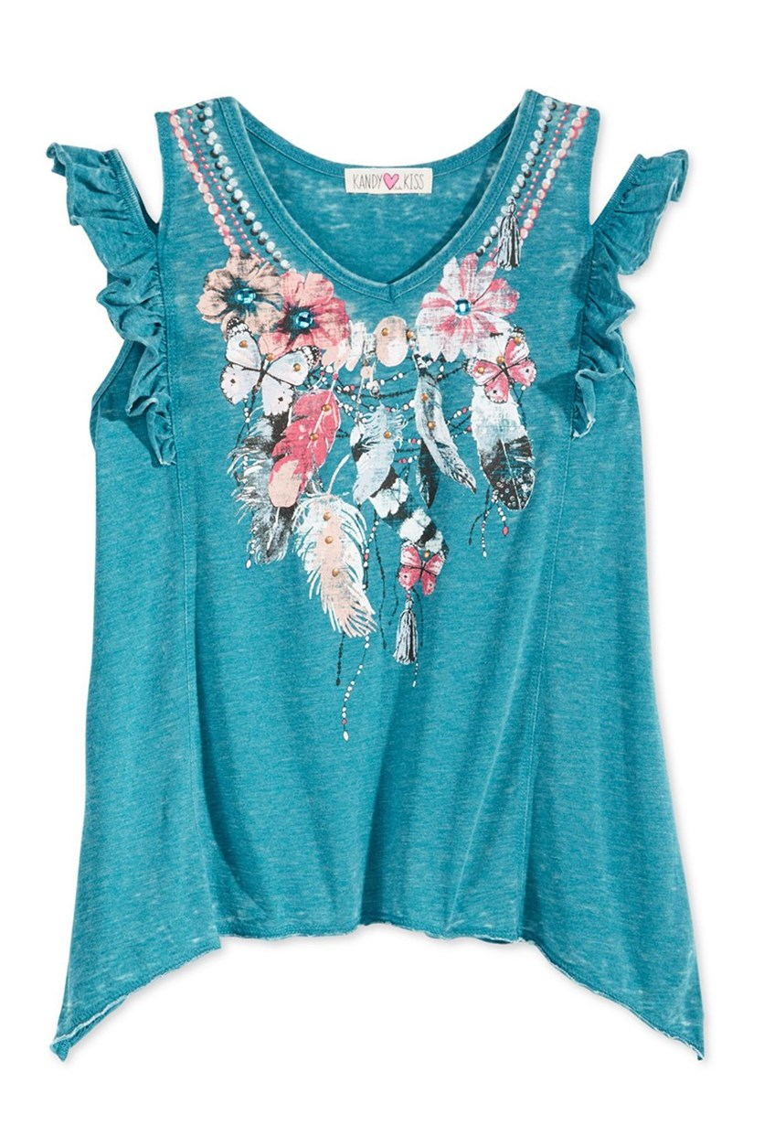 Kid's Girl Love You Ruffle Cold-Shoulder T-Shirt, Teal