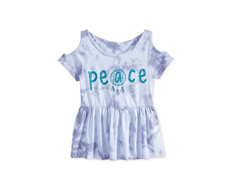 Girls Tie-Dyed Cold-Shoulder Top, Blue