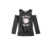 Kandy Kiss Fleece Navidad Cold Shoulder Tee, Jet Black