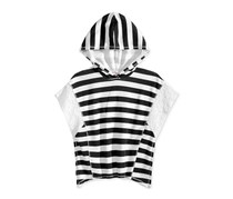 Kandy Kiss French Terry Poncho Tops, Black/White