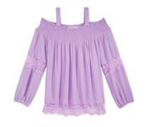 Kandy Kiss Off-The-Shoulder Peasant Top, Lilac