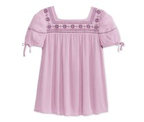Kandy Kiss Girls Embroidered Peasant Top, Lilac