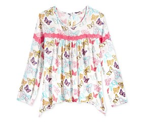 Kandy Kiss Lace-Trim Peasant Top, Butterfly Pink