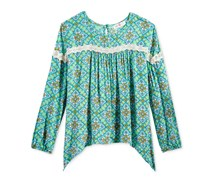 Kandy Kiss Big Girls Lace-Trim Peasant Top, Turquoise Print