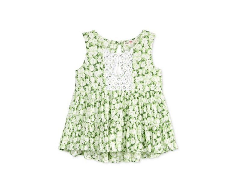 Girls' Tie-Front Swing Tank, Green Combo