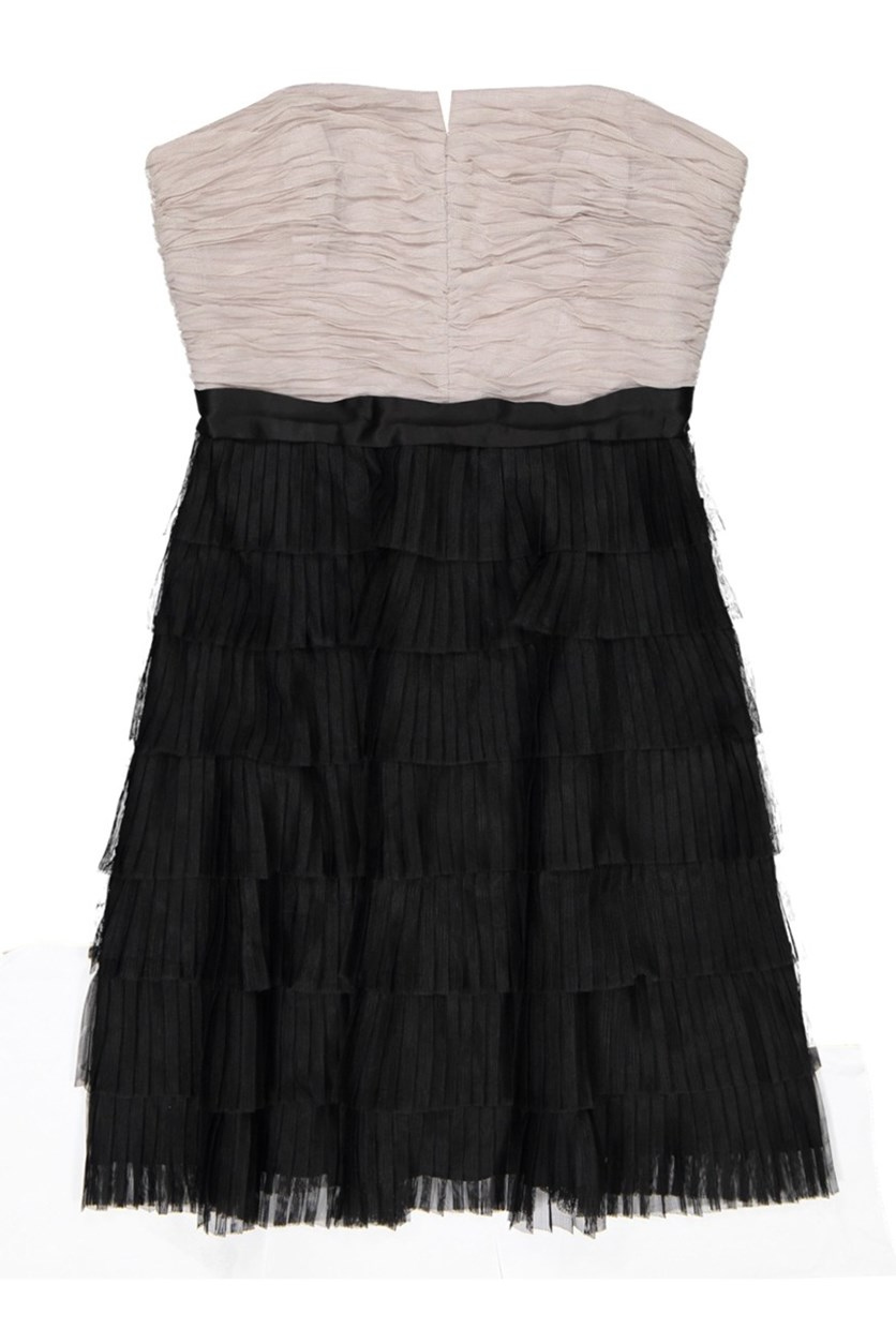 Gina Ruffle Dress, Gray/Black