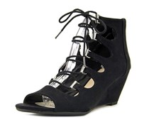 Bar III Kerry Lace-Up Wedge Dress Sandals, Black