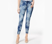 Kut from the Kloth Floral-Print Skinny Jeans, Indigo Wash
