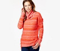 Kensie Fringed Multi-Yarn Turtleneck Spicy, Orange Combo