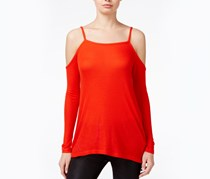 Kensie Waffle Knit Cold Shoulder Top, Fire Red