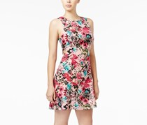 Kensie Floral-Print Fit & Flare Dress, Bubblegum