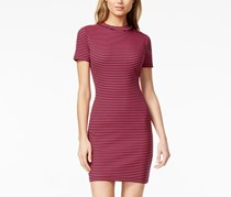 Kensie Ribbed Mock-Neck Dress, Pink/Black