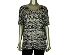 Kensie Women's Painted Zig-Zag Tunic Top, Black/Gray