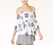Kensie Rose Garden Cold-Shoulder Top, Grey Dusk