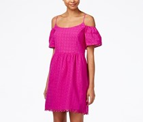 Kensie  Off-The-Shoulder Eyelet Lace Fit & Flare Dress, Bright Purple