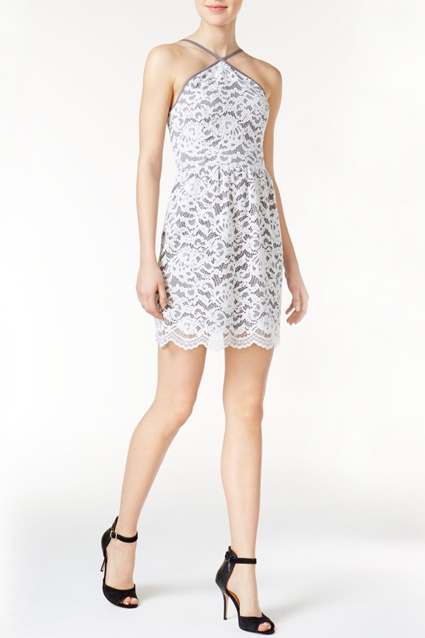 Lace Halter Dress, Grey Dusk Combo
