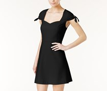Kensie Tie-Sleeve Fit & Flare Dress, Black