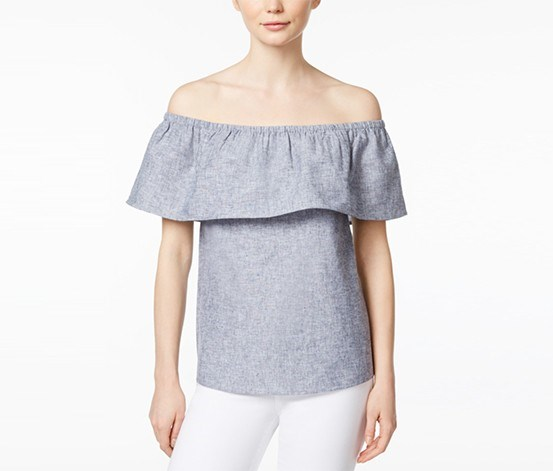 Off-The-Shoulder Flounce Top, Darkest Navy