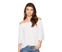Kensie  Polka-Dot Off-The-Shoulder Top, White Combo
